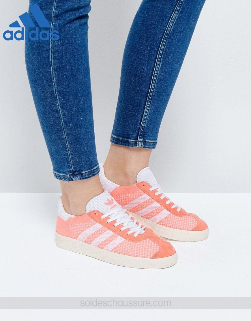 info for 98ea8 694aa ... Soldes Chaussures  Adidas Originals Primeknit Gazelle Corail - Adidas  Soldes Chaussures ...